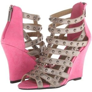 2 Lips Too Pink/Silver Studded  Wedge Shoes Sz 6